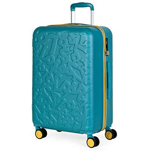 Lois - Maleta de Viaje Mediana 4 Ruedas Trolley. 66 cm rígida de abs. Dura práctica cómoda Ligera y Bonito diseño Marca. candado TSA. 171160, Color Aguamarina