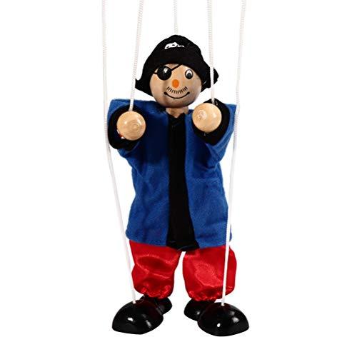 Daxoon Pull String Puppet Piraten Kinder Holz Marionette Spielzeug für Eltern-Kind Interaktives Spielzeug(Zufällige Farbe)