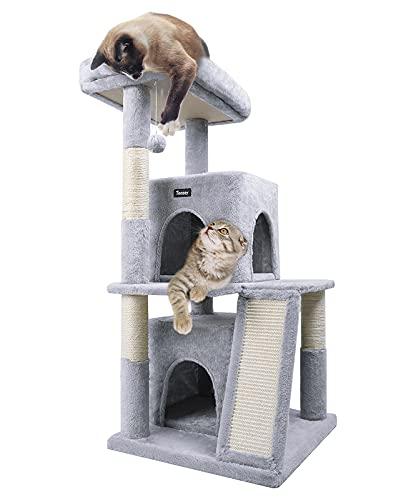 Toozey Kratzbaum 105cm, Kuschelige Aussichtsplattformen und 2 Groß Stabil Kletterbaum Spielhaus mit Sisalseil Kratzbrett Katzenbaum für Kitten und Grosse Katzen, Grau