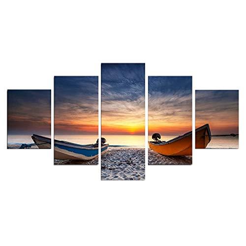 SailorMJY Vlies Leinwandbild,Deko Kunstdrucke, Sonnenuntergang Boot 5 Panel Wandkunst Malerei Home Office Wohnzimmer Schlafzimmer Wanddekoration Malerei kein Rahme
