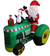 BZB Goods 5.3 Foot Tall Christmas Inflatable Santa Claus Drive Tractor with Penguin LED Lights Outdoor Indoor Holiday Decorations Blow up Lawn Inflatables Home Family Decor Yard Decoration