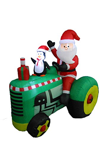 5.3 Foot Tall Christmas Inflatable Santa Claus Drive Tractor with Penguin Yard Decoration