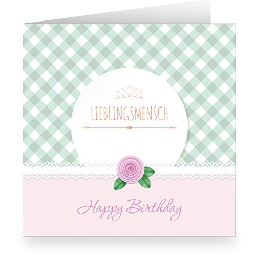 Roze Shabby chic verjaardagskaart met Vichy ruiten binnen wit (vierkant, 15,5 x 15,5 cm incl. envelopp): Happy Birthday lievelingsmen- grote XL groenkaart voor familie, vrienden, medewerkers 12 Grußkarten