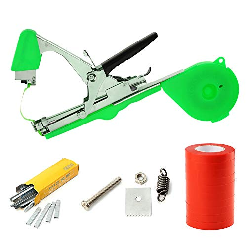 Aozzy Vineyard Tools Garden Vine Tying Tape Plant Tying Machines Agriculture Tapener Hand Tying Machines Fix the Vine Plants such as Tomatos,Cucumbers, ect 10 Rolls Tape+1 Staples +Tying Tool