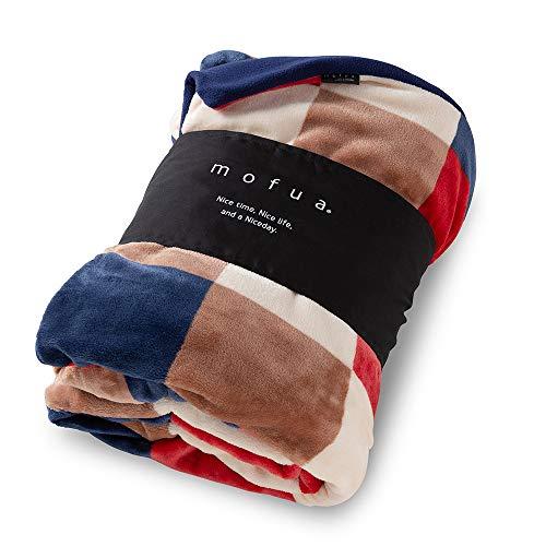 ナイスデイ レッド mofua 布団を包めるぬくぬく毛布 チェック柄 レッド D 402503C8