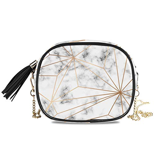 QMIN Bandolera con diseño geométrico de líneas doradas, estampado de mármol, bolso pequeño, bolso de mano, piel sintética, organizador de hombro con correa de cadena, borlas para mujeres y niñas