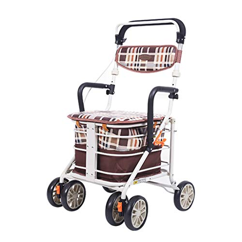 Andador Rodante De Aleación De Aluminio De 4 Ruedas Rollator Plegable Ligero con Asiento Y Freno Extraíbles, Altura Ajustable