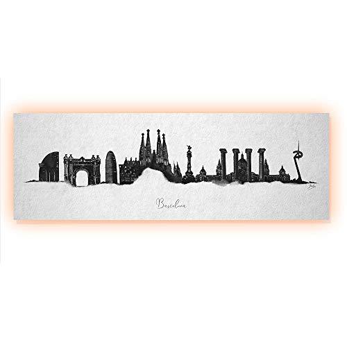 ArcoIris Home Cuadro Decorativo Skyline Barcelona 90x30cm CON LED