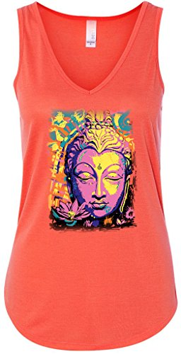 Yoga Clothing For You Psychedelic Buddha Flowy V-Neck Tank Top, Medium Coral