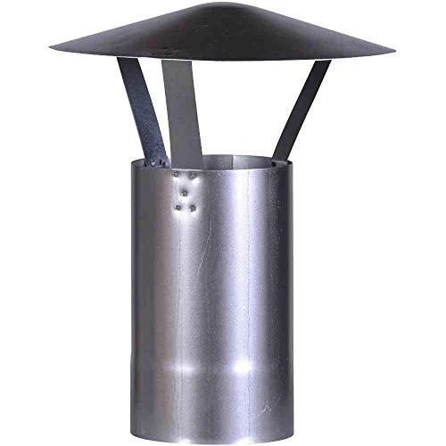 FIREFIX A120/RH Regenhut (verzinkt), Höhe 420 mm, ø 120 mm-für 0,6 mm Starke Ofenrohre, Silber