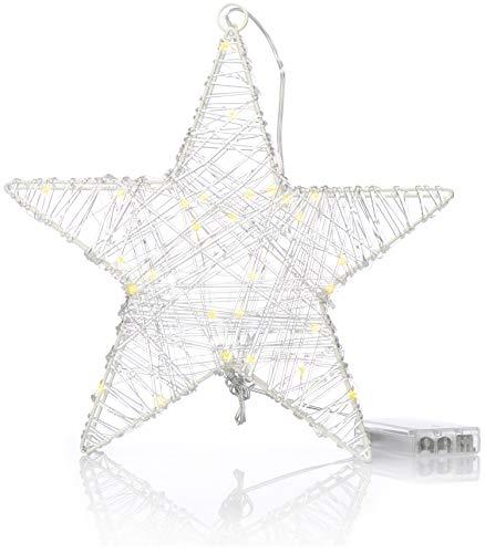 com-four® Weihnachtsstern mit Timer-Funktion - LED Stern als dekorative Beleuchtung zu Weihnachten - Batteriebetriebene Weihnachtsdekoration (01 Stück - LED Stern)