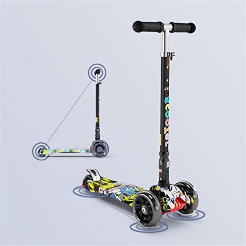 CaoQuanBaiHuoDian Tilt Mini T-Bar 3-wieler retroller kinderen scooter Walker Four Light Music opvouwbare scooter vier versnellingen instelbare pasvorm 70-160cm hoog jongens en meisjes