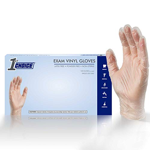 1st Choice Exam Clear Vinyl Gloves, 3 Mil, Latex Free, Powder Free, Textured, Disposable, Non-Sterile, Size Small, Box of 100, 1EVSBX