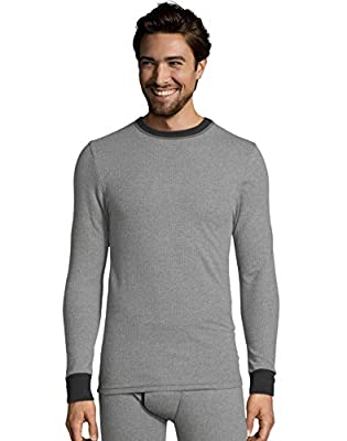 Hanes Mens 2-Color Fusion Knit Thermal Crewneck, XL, Grey/Black Combo