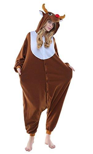 NEWCOSPLAY Unisex Reindeer Pyjamas Onesie Christmas Costume (XL, Coffee)