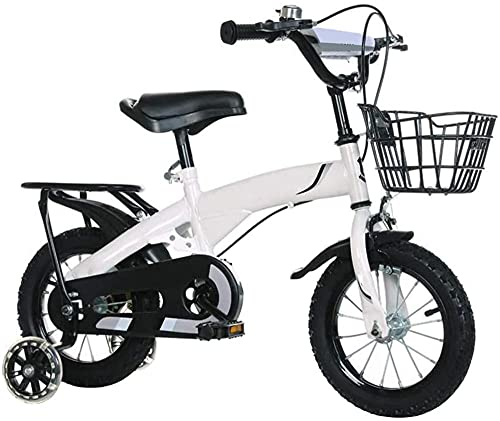 Bicicleta infantil para niñas y niños de 2 a 10 años de edad 12 14 16 18 pulgadas Bicicleta infantil con ruedas de entrenamiento y frenos de mano, 4 colores - Blanco_46,7 cm