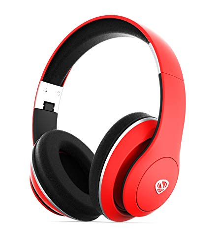 NCredible1 Bluetooth Wireless Headphones, Hi-Fi Stereo Tuned by Nick Cannon, Portable Foldable Headset, Adjustable Padded Headband, Soft Ear Cushions, Built-in Mic, Ear Cup Controls (Red)