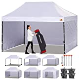ABCCANOPY Canopy Tent Popup Canopy 10x15 Pop Up Canopies Commercial Tents Market stall with 6 Removable Sidewalls and Roller Bag Bonus 4 Weight Bags and 10ft Screen Netting and Half Wall, White