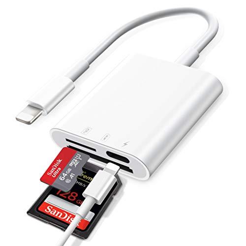SD Kartenlesegerät,SD Kartenleser für iPhone iPad,USB SD Karten lesegerät auf lesen für DSLR-Kamera UAV Action Kamera Trail Game Kamera Dash Cams,Plug and Play,Keine App erforderlich