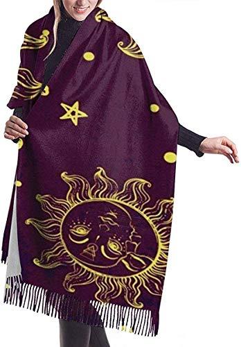 JJsister Bufandas de Mujer, Bufanda Chales para Mujer,  Scarf Trendy Sun Moon Star Cozy Soft Fashion Winter Warm Large Scarf Long Shawl