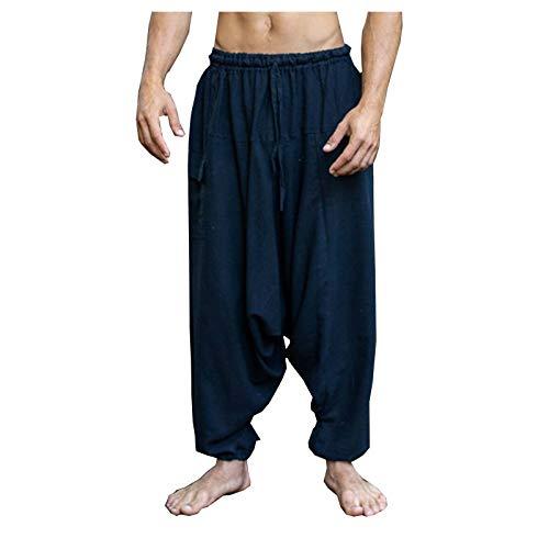 AJJAYA Aladdin Pantalones de algodón con Entrepierna caída para Hombre Negro Yogi Ashtanga Asana Harem Alibaba Yoga Pantalones de Bolsillo afganos cómodos Tai chi Gong Kung fu