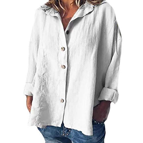 iYmitz 3/4-Arm Damen Streetwear Einfarbig Rundausschnitt Leinen Frauen Freizeit Bluse Sommer Freizeithemd(Z5-Weiß,EU-42/CN-XL)