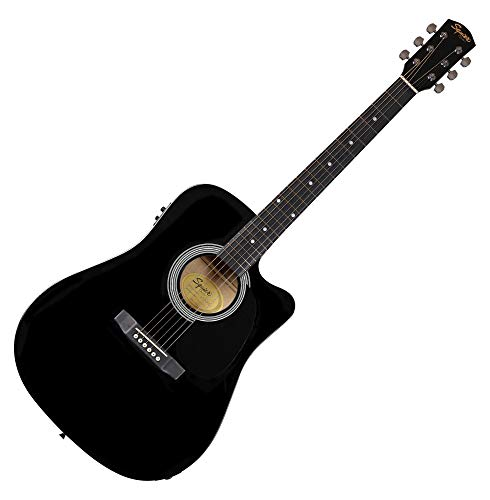 Fender 0930307006SA-105CE Dreadnought-Cutaway E-Gitarre–Schwarz Full 4/4 Schwarz