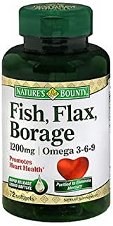 Nature's Bounty Fish, Flax, Borage 1200mg, Omega 3-6-9, 72 Softgels (Pack of 3)