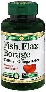 Nature's Bounty Fish, Flax, Borage 1200mg, Omega 3-6-9, 72 Softgels (Pack of 3)