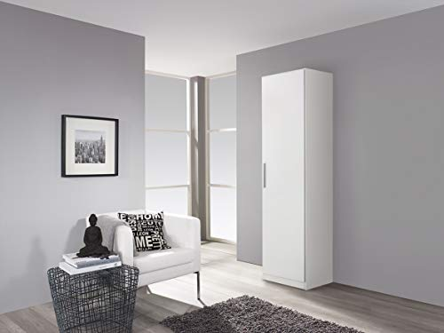 Rauch Möbel Minosa Schrank Kleiderschrank Drehtürenschrank 1-türig, Weiß, inkl. Zubehörpaket Basic 4 Einlegeböden, BxHxT 47x197x41 cm