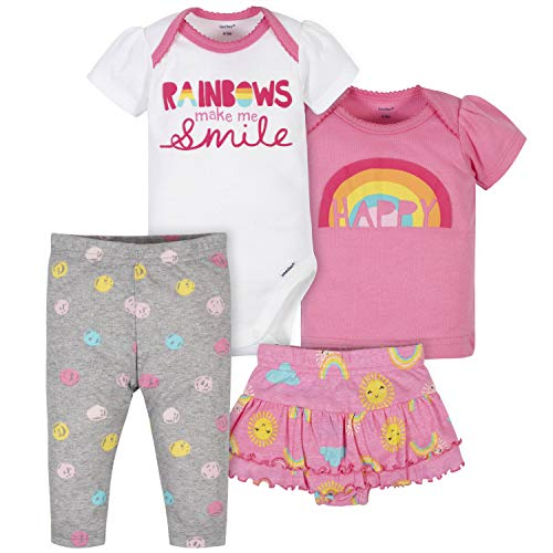 Gerber Baby Girls' 4-Piece Shirt, Bodysuit, Pant and Skirted Ruffle Panty, Pink Rainbows, 18 Months