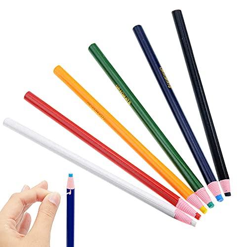 Lápices de tiza para tela, 6 colores sin cortar, tiza de tela para confección de vestir, juego de lápices Chinagraph, lápices de tela soluble en agua, marcadores de tiza para coser