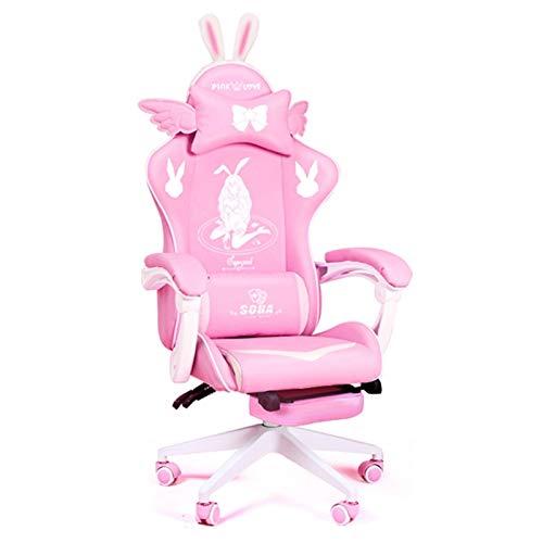 LiKin Silla Gaming Profesional para Niña, Sillas Ergonómica de Escritorio Ajustable Giratoria Silla de Respaldo Alto con Reposapiés Retráctil (Color : White-Footstool)