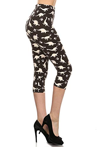 S767-CA-PLUS Dinosaur World Capri Printed Leggings, Plus Size