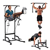 HOMCOM Power Tower Multi-Function Height Adjustable Abs Dip Station, Home Gym Strength Training Fitness Equipment