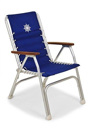FORMA MARINE Hohe Deck Stuhl zurück, Boot Stuhl, faltbar, Alu, blau, Modell M150B