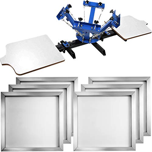 VEVOR 4 Color 2 Station Screen-Print Press Machine + 6 Pieces 18'x20' Aluminum Silk Screen Printing Frames with White 160 Count Mesh
