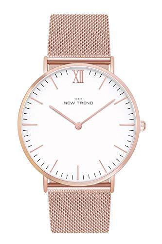 New Trend Unisex Armbanduhr Damen-Uhr Herren-Uhr, Analog-Uhr, Metall-Armband, Mesh-Armband Rosegold