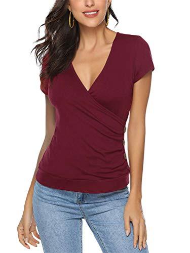 Shallood Camisetas Mujer Manga Corta Cuello V Casual Tops Color Sólido con Pliegues Verano Blusas Camisetas Moda Básicas Blouse Tops Vino Rojo ES 46