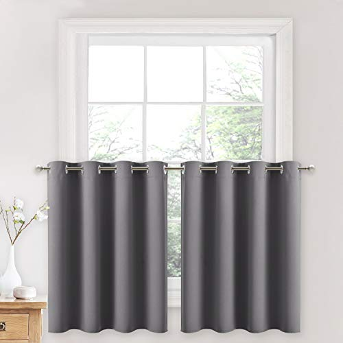 NICETOWN Blackout Kitchen Curtains, Thermal Insulated Grommet Top Light Blocking Drapes for Basement/Cabinet/Bathroom (Grey, 2 Panels, 52W by 36L + 1.2 inches Header)