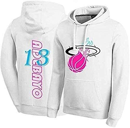 Sudadera con capucha NBA Sudaderas con capucha de baloncesto de los hombres, Miami Heat13 BAM Adebayo Hoodies, Pullover con capucha Camiseta suelta Camiseta con capucha clásica (Tamaño: Medio) - unise