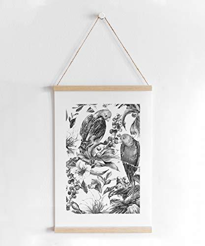 Skandi-Poster mit Posterleiste, schwarz-weiß Vogel Motiv im handgezeichneten Stil