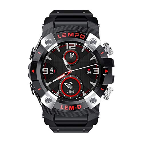 Smart Watch 1.3 Pulgadas TFT Screen TWS Smart Bluetooth Pulsera Auricular, rastreador de Fitness con Monitor, Reloj telefónico (Color : Black)