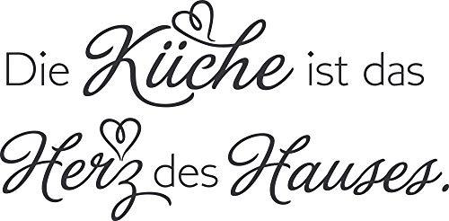 GRAZDesign Wandtattoo Spruch Die Küche ist das Herz der Hauses - Küchensprüche für die Wand Küchenspruch - Wandtattoo für Küche / 102x50cm / 073 dunkelgrau