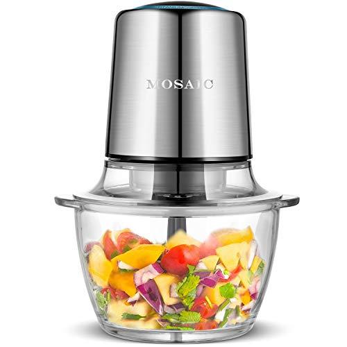 Zerkleinerer Elektrisch, MOSAIC Universalzerkleinerer 1.5L Glasbehälter 400W Multizerkleinerer mit 4 Titanbeschichtungsklingen für Fleisch Zwiebeln Obst Gemüse Salat Knoblauch