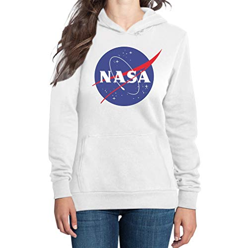NASA Logo Galaxy Streetwear Outfit Felpa con Cappuccio da Donna Medium Bianco