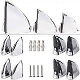8x soportes de estantes de vidrio cromados - Soportes de estantes resistentes...