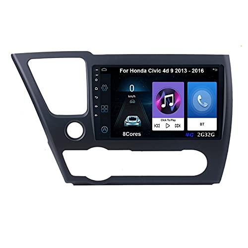 Autoradio Android Car Radio Stereo 9 Pulgadas Pantalla Táctil Para Honda Civic 4d 9 2013-2016 Conecta Y Reproduce Cámara De Respaldo Estéreo De Coche Auto Dvd Player (Color : 8Cores 4G 2G32G)