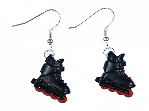 Miniblings Inlineskates Ohrringe Rollerskates Skates Rollschuhe Skater schwz rot - Handmade Modeschmuck I Ohrhänger Ohrschmuck versilbert