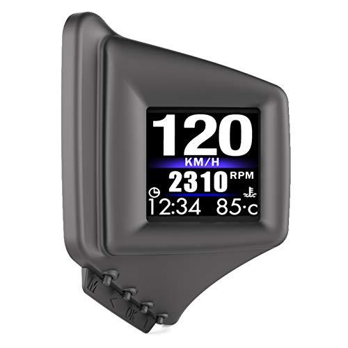 KKmoon Head Up Display Auto, Auto HUD Display OBD + GPS HUD DisplayHead up Display, Geschwindigkeitsmesser Auto, Tachometer, Wassertemperaturmesser Motordrehzahl Sicherheitsalarme